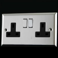 Varilight 2 Gang 13 Amp Switched Electrical Plug Socket Mirror Chrome Dec Switch Black Insert XC5DB